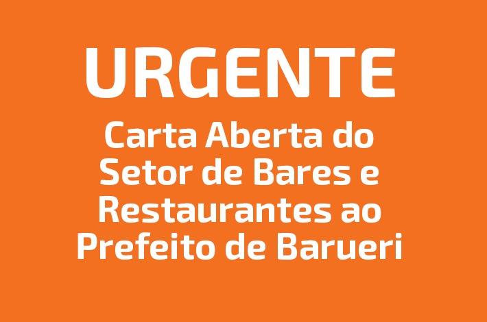 Carta aberta do setor de bares e restaurantes ao prefeito de Barueri