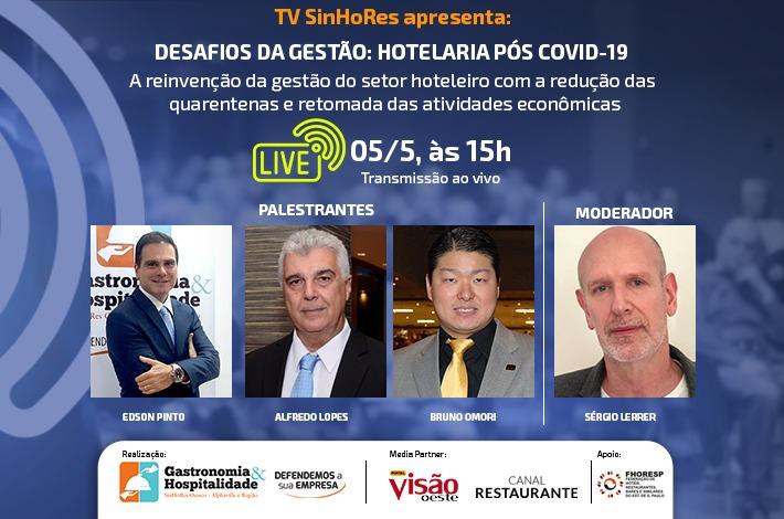 TV SinHoRes realizará live para debater os desafios da gestão na hotelaria pós Covid-19