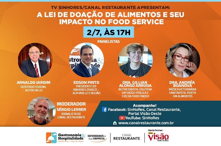 Em live com deputado federal Arnaldo Jardim, SinHoRes discutirá Lei de Doação de Alimentos