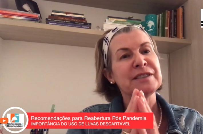 A consultora do SinHoRes, Flávia Zibordi, fala sobre a importância do uso de luvas descartáveis