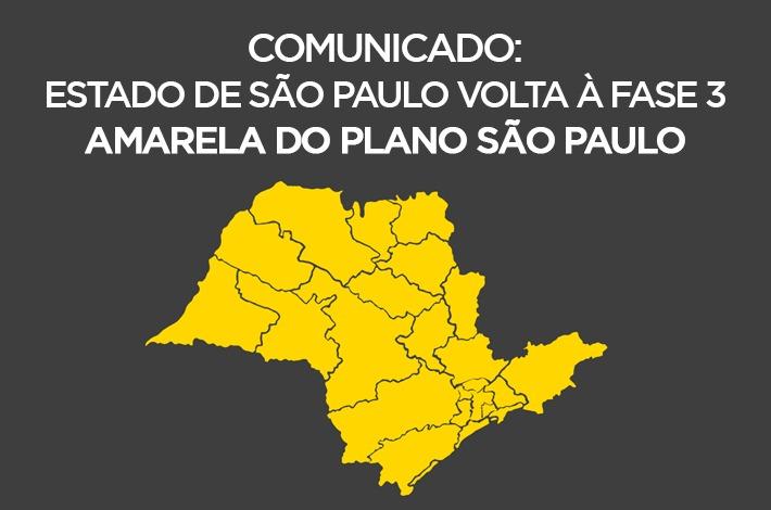 COMUNICADO: Governo de SP anuncia volta do Estado para a Fase 3 – Amarela do Plano São Paulo