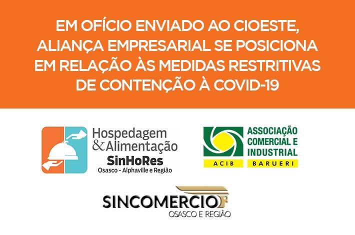 Em ofício enviado ao CIOESTE, ALIANÇA Empresarial se posiciona em relação às medidas restritivas de contenção à Covid-19