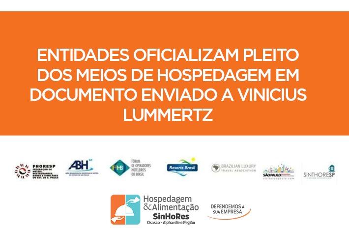 Entidades oficializam pleito dos meios de hospedagem em documento enviado a Vinicius Lummertz