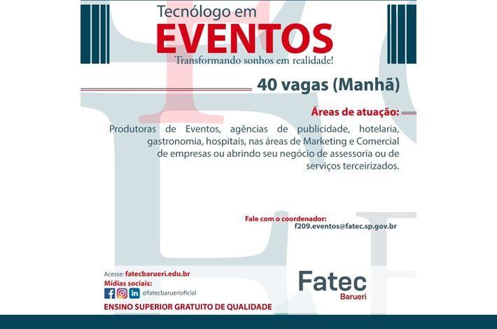 Inscrições abertas para Tecnólogo em Eventos na Fatec de Barueri